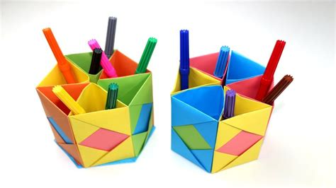 How To Make A Origami Pencil Holder - how to make pen stand origami pen holder paper