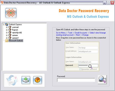 mail password email password recovery tool ms outlook email password rescue tool 3 0 1 5 screenshots