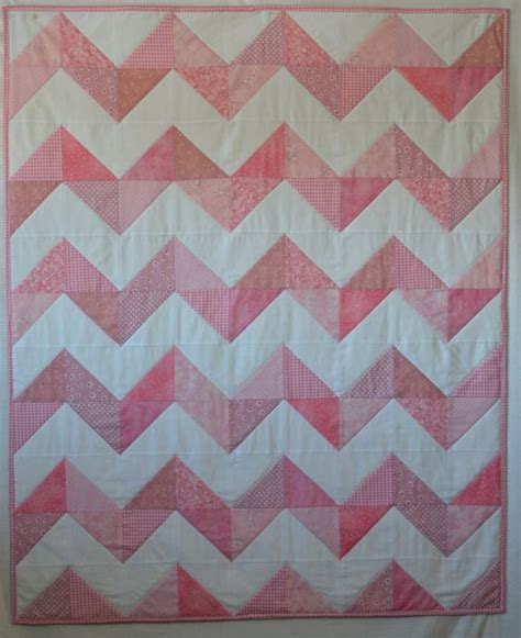 Pink Chevron Quilt by Pink Baby Quilt Modern Chevron Pink Bedding Made To Order