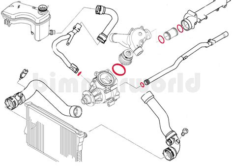 how to draw water hose s54 water pump o rings