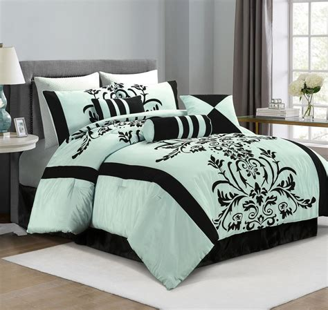 blue flower comforter set chezmoi collection 7 piece aqua blue black flocked floral