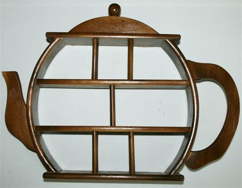 Cup Shelf by Vintage Wood Teapot Cup Curio Wall Display Wooden Shelf