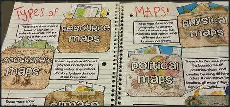 kinds of maps teel s treats types of maps interactive notebook activity