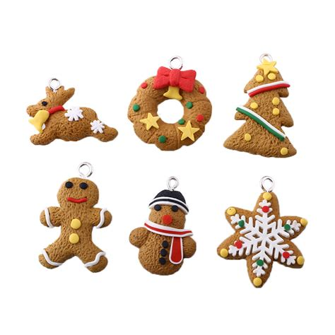6pcs polymer clay fimo decoration christmas snowflake