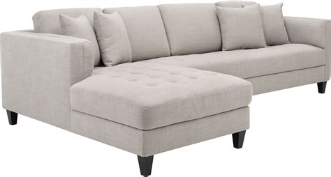 arthur beige tweed upholstered laf sofa chaise from sunpan