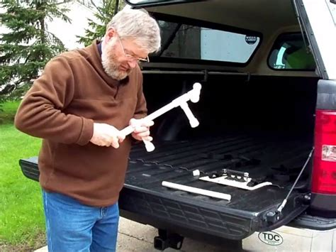 diy truck bed cer an inexpensive pickup truck bed bike rack youtube