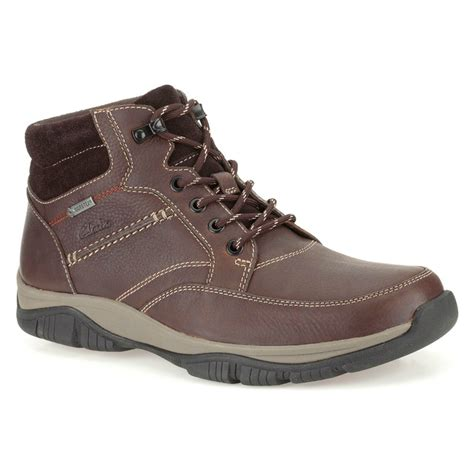 clarks mens rartmid gtx brown warm lined leather boots