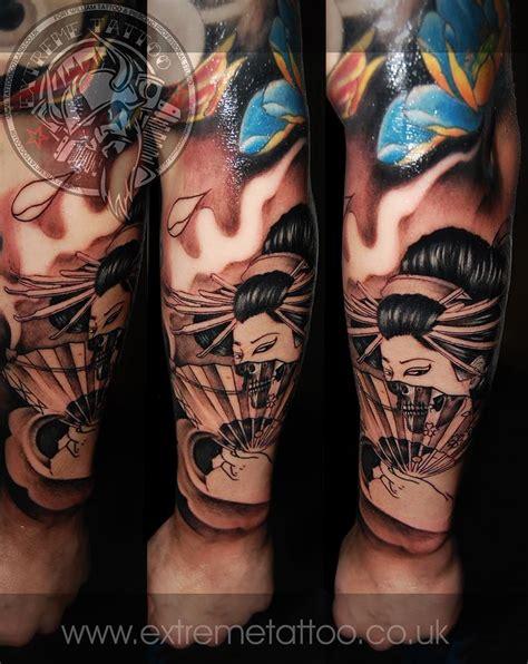 geisha tattoo new school geisha tattoo in progress to add colour extreme tattoo