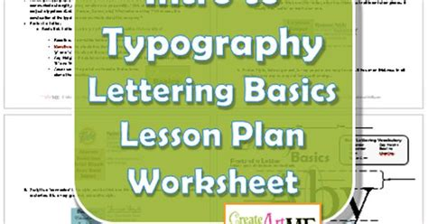 font design lesson plan typography lettering basics lesson plan and worksheet