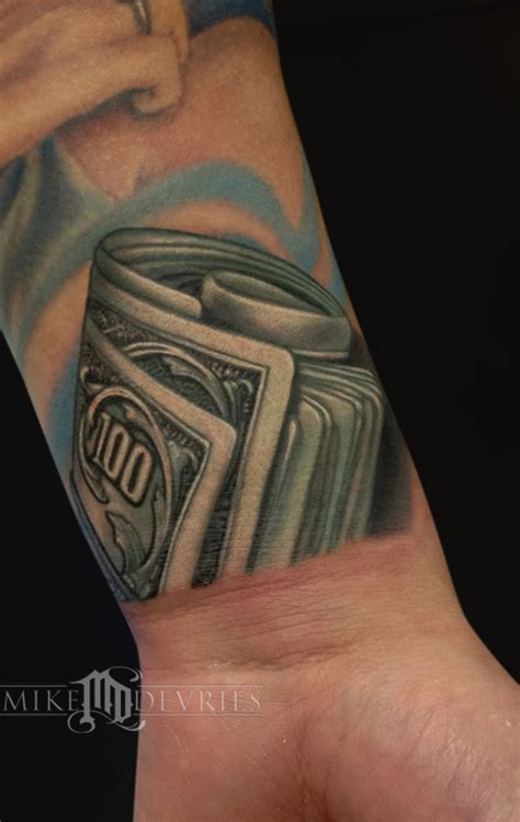 cash money tattoo designs mike devries tattoos color money