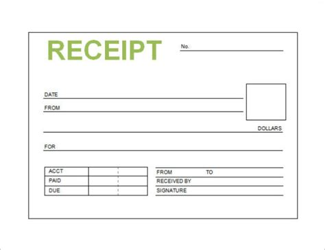 free receipt template word pdf doc printable calendar