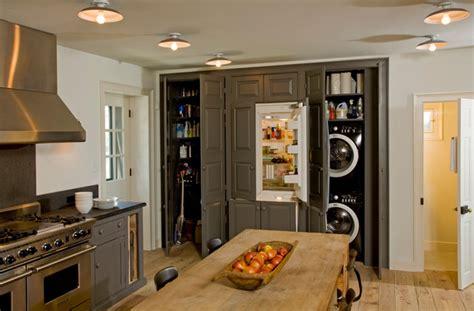 Stainless Backsplash With Shelf - view of the built in pantry refridgerator washer dryer farmhouse kitchen philadelphia