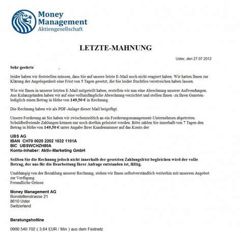 2 Mahnung Schreiben Muster Achtung Dringende Warnung Money Management Ag Versendet Quot Letzte Mahnung Quot Fuer Eine Beworbene