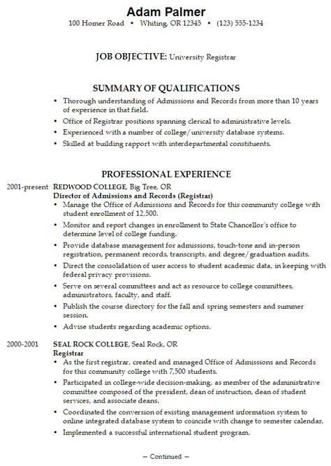 resume exle for a registrar susan ireland