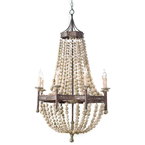Beaded Wood Chandelier Maroma Coastal Scalloped Wood Bead Metal Chandelier Kathy Kuo Home