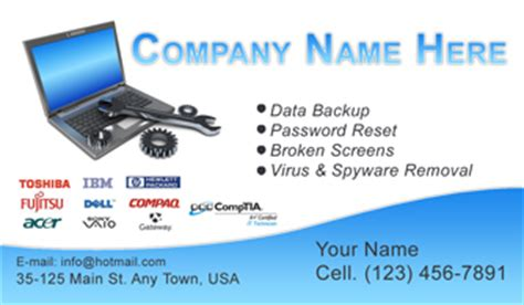 computer repair business card template computer business cards