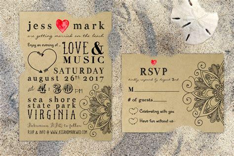 printable bohemian rustic kraft wedding invitation rsvp