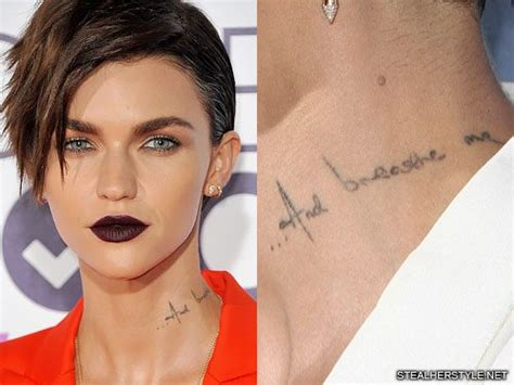 ruby rose tattoos neck ruby quot and breathe me quot neck style