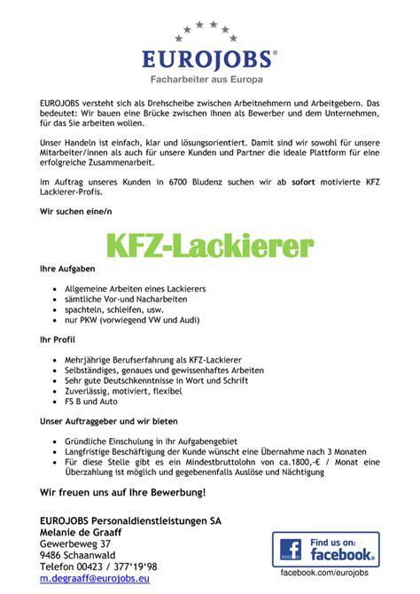 Kfz Lackierer Bewerbung by Kfz Lackierer Eurojobs Versteht Sich Als Drehscheibe