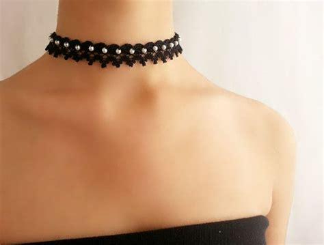 Kalung Choker Velvet Flower Pearls 6886 s choker velvet ribbon collar set 6pc ribbon