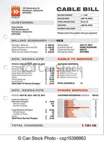 clip vector of cable service phone bill document
