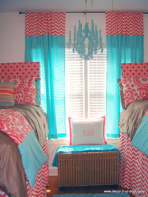 girls dorm bedding sorority house tours room coral and tiffany blue dorm