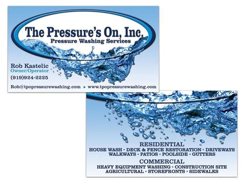 pressures  power washing double sided business card