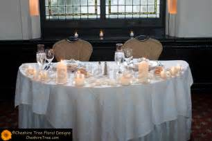 Bride and groom sweetheart table decorations