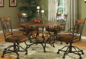 Dining Room Sets With Rolling Chairs Dining Set Rolling Swivel Room Chairs Design Ideas