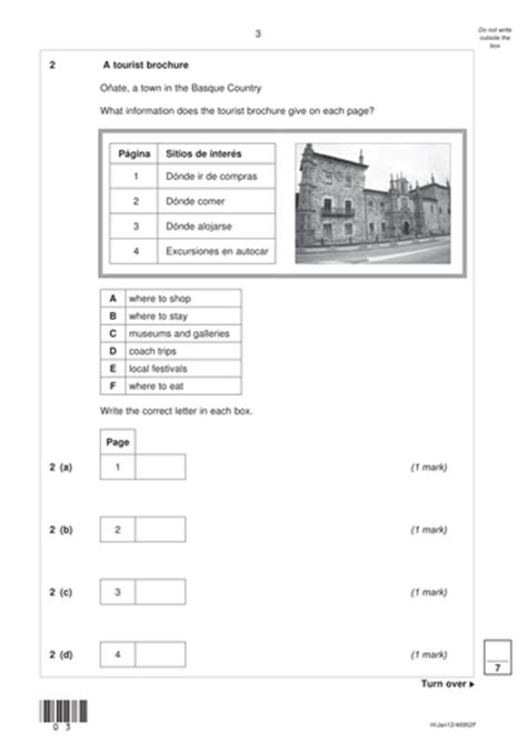 Aqa Gcse Spanish Past Paper Questions Holidays By