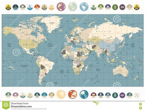 world map  colors illustration   flat icons