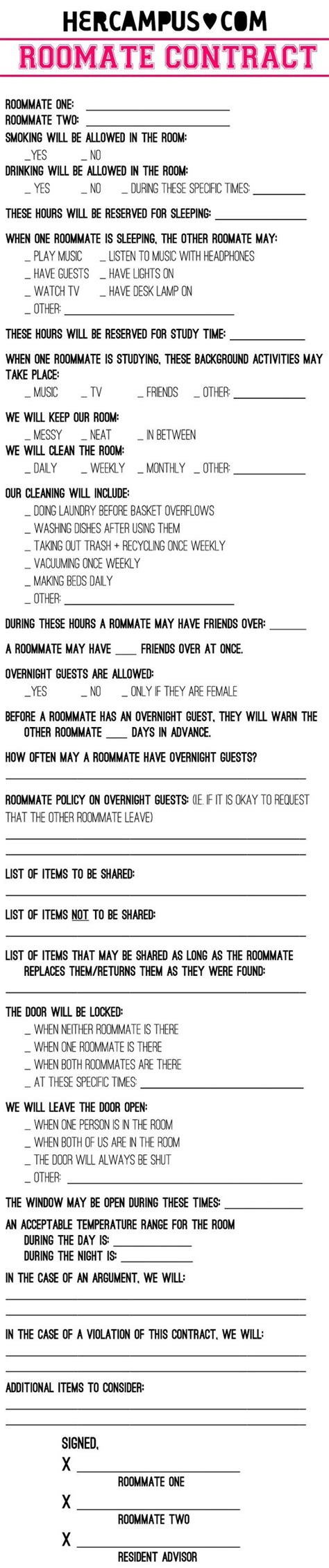 should you make a roommate contract plus a roommate
