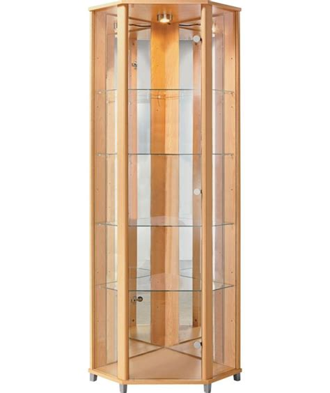 buy corner glass display cabinet beech effect at argos