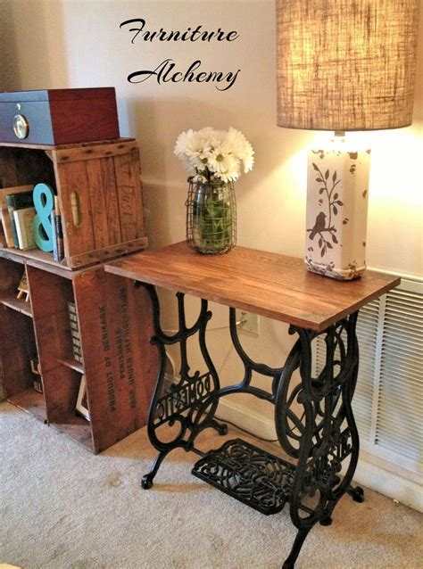 hometalk reclaimed wood sewing machine table