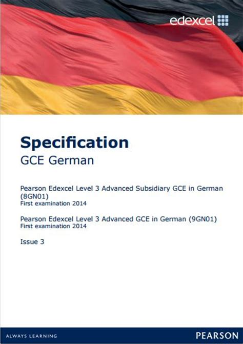 edexcel a level german edexcel german as 8gn01 a level 9gn01 specification as exam june 2016 a level exam june