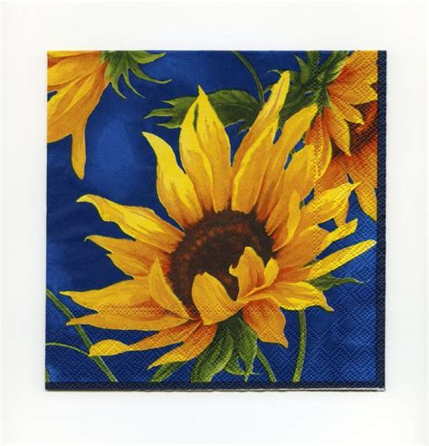 Paper Napkin Decoupage - sunflower paper napkins paper lunch napkins sunflower
