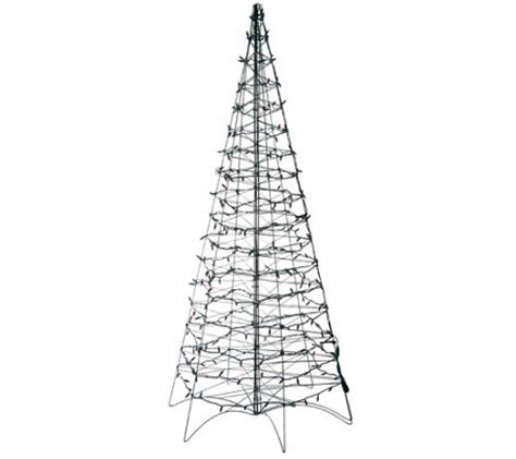 pre lit led 6 fold flat outdoor christmas tree by lori