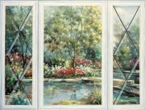 trompe l oeil garden window wallpaper mural wall paper decorating theme bedrooms maries manor rainbow theme