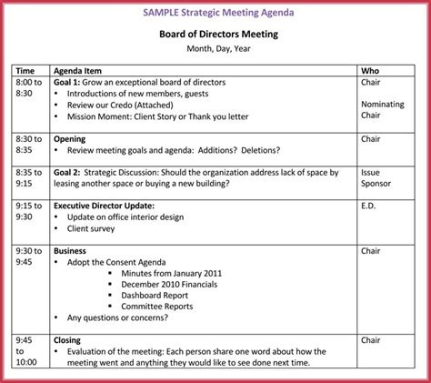 Board Meeting Agenda Template 10 Free Sles Formats For Word Client Meeting Report Template