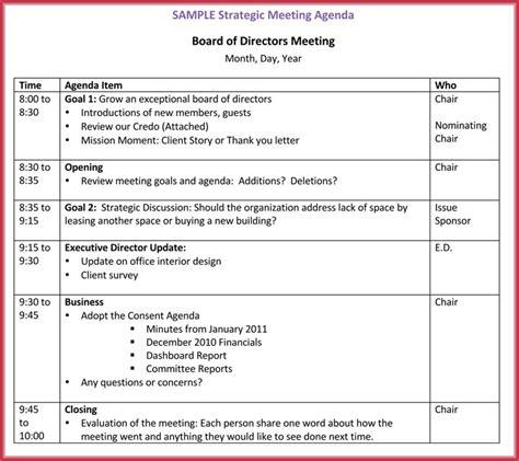 Board Meeting Agenda Template 10 Free Sles Formats For Word Board Meeting Agenda Template