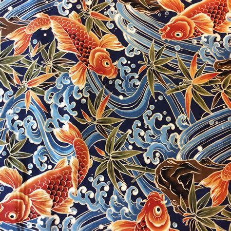 japanese koi pattern asian print fabrics geisha japan china asia koi