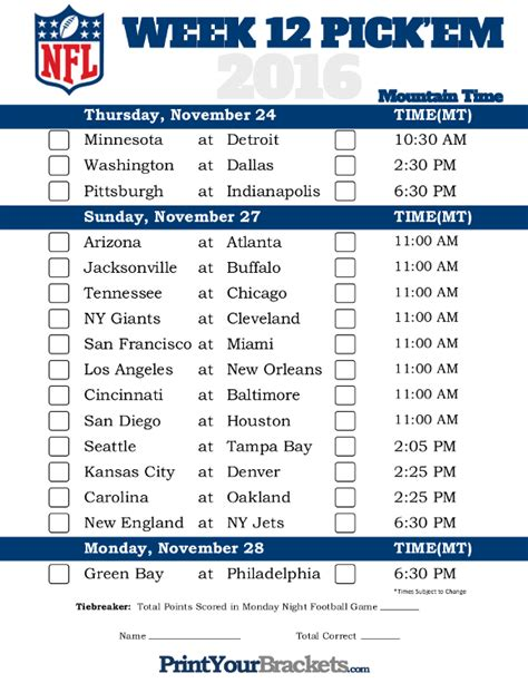 printable nfl schedule pick em mountain time week 12 nfl schedule 2016 printable