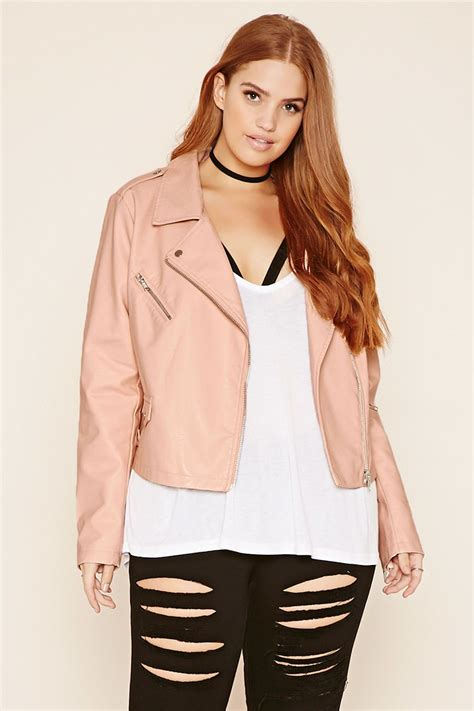 light pink plus size blazer forever 21 plus size moto jacket in pink lyst