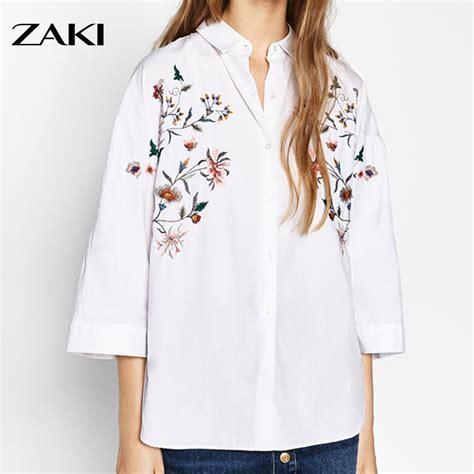 Blouse Printing Monogram flower print embroidery white blouses za turn collar blouse trendy 3 4 sleeve