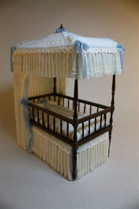 Canopy Crib Trimmed In Baby Blue 1 12 Scale Name Baby Canopy Cribs