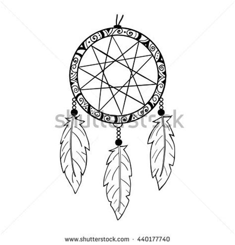 collection hand drawn feather dreamcatchers vector stock