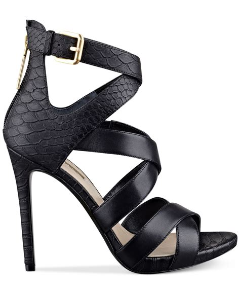 Dress Heels Guess lyst guess s abby strappy dress sandals in black