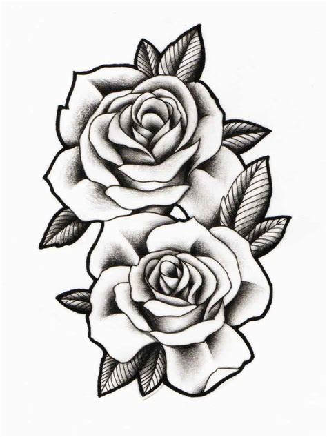 white rose tattoos designs black and white outline free best