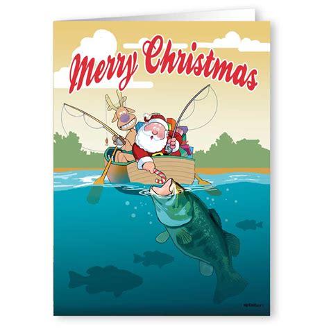 fishing cards santa fishing in boat card 18 cards