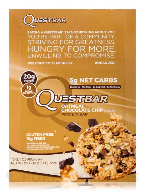 top quest bar flavors quest bar 174 oatmeal chocolate chip flavor protein bar box